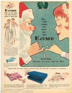 KAYSER AD STOCKING BOXES ART HOSIERY Vintage Advertising  1955