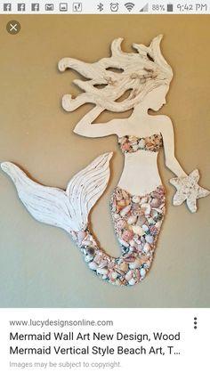 Crafts Shells Mermaid Wall Art Handmade Wood Mermaid Beach by LucyDesignsonline Mermaid Wall Decor, Mermaid Bedroom, Mermaid Beach, Mermaid Art, Seashell Art, Seashell Crafts, Deco Marine, Mermaid Crafts, Sea Crafts