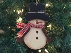 Snowman Ornament by PaintedPrims on Etsy