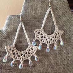 Resultado de imagen de Free Crochet Instructions for Earrings Crochet Earrings Pattern, Crochet Jewelry Patterns, Crochet Accessories, Crochet Motif, Knit Crochet, Doilies Crochet, Crochet Coaster, Crochet Collar, Unique Crochet