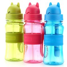 300ml School Water Bottle Shaker For Kids Children Baby Hot Sale Cute Plastic Portable Sports Water Bottles With Straw ZCForest