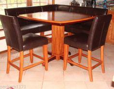 Kitchen Dining Room Leather Wood Corner Breakfast Nook Table