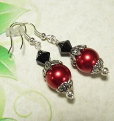 Red Black Drop Earrings Handmade Jewelry by GrammysBeadsNBaubles, $6.97