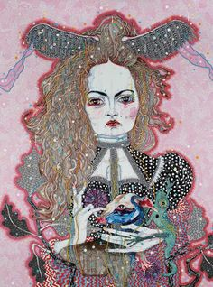 Del Kathryn Barton has produced a book of paintings inspired by the Oscar Wilde story, The Nightingale and the Rose. Del Kathryn Barton, Oscar Wilde, Australian Artists, American Artists, Monet, Picasso, Van Gogh, Watercolor And Ink, Oeuvre D'art
