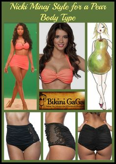 446cd67961c To create balance on a Pear Body Type like Nicki Minaj, go for dark bottom  with bright top! BikiniGaGa · Swimsuit Makeovers