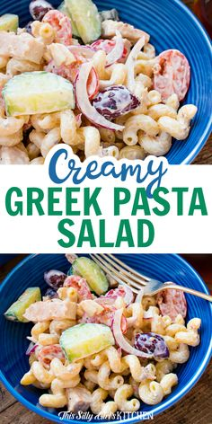 Creamy Greek Pasta Salad, loaded with veggies, grilled chicken, and feta, tossed in a tangy yogurt sauce, the perfect summer meal! #greekpastasalad #pastasalad Pasta Salad Ingredients, Greek Salad Pasta, Yogurt Sauce, Creamy Pasta, Party Food And Drinks, Tossed, Kitchen Hacks, Grilled Chicken, Soul Food