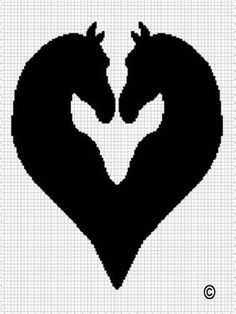 HORSE HEADS HEART SHAPED SILHOUETTE CROCHET AFGHAN PATTERN GRAPH