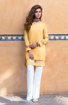Tuscan sun yellow tunic is crafted from fluid georgette chiffon – Natasha Kamal Pakistani Fashion Party Wear, Indian Fashion Dresses, Pakistani Outfits, Pakistani Clothing, Best Casual Dresses, Stylish Dresses For Girls, Dresses Kids Girl, Ladies Kurti Design, Kurta Designs Women