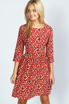 Red Floral Skater Dress by Boohoo. Buy for $16 from BooHoo