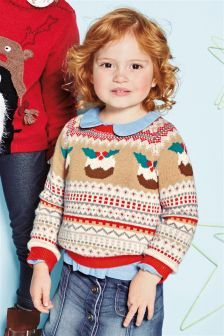 Cream/Red Christmas Pudding Jumper (3mths-6yrs)