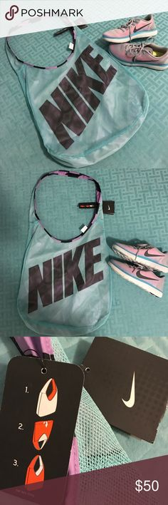 Nike sneakers & reversible bag Nike size 9 Worn 1x natural run gray pink & blue. Bag NEW lavender blue & black. Nike Shoes Sneakers