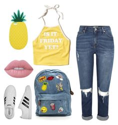 """""""Untitled #48"""" by elisha-m-ronald on Polyvore featuring Hollister Co., Miss Selfridge, Lime Crime and adidas"""