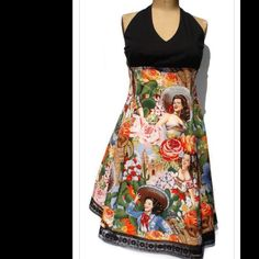 5849db54de3 Mexican Calendar Girl Halter Pinup Dress New Featuring one of my favorite  fabrics that is composed