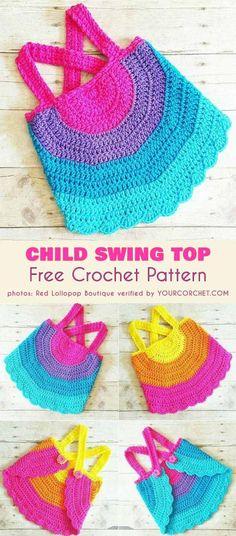 Rainbow Child Swing Top Free Crochet Pattern Halter Top Tank Backless Shirt for Newborn Toddler Girl Summer outfit #freecrochetpatterns  #summerstyle  #crochet4kids
