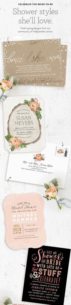 Celebrate the bride to be with fresh Bridal Shower spring invitations from the Minted community of artists.