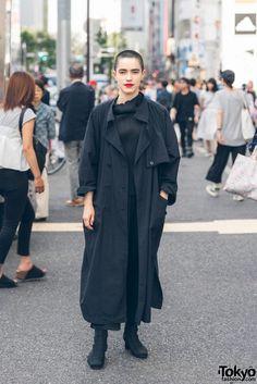 Fashion Model's Minimalist Harajuku Street Style w/ Yacco Maricard, Issey Miyake Pleats Please & Vintage Boots