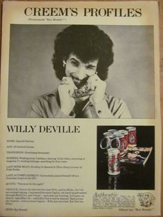 Mink De Ville, Full Page Vintage Clipping, Willy Deville, Creem, Boy Howdy 1970s Music, Street Lamp, Vintage Clip, Mink, Boys, People, Movies, Art, Baby Boys
