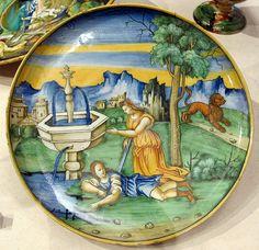Ceramica di Faenza  - Baldassarre Manara - Scodella con Piramo e Tisbe - 1535 ca. - Musée des Beaux-Arts de la Ville de Paris