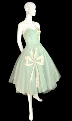 1950s vintage mint green tulle strapless party dress with beading and  ivory silk bow appliques $189