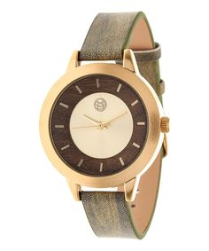 Look at this EARTH wood watches Gold & Olive Autumn Leather-Strap Watch on #zulily today!