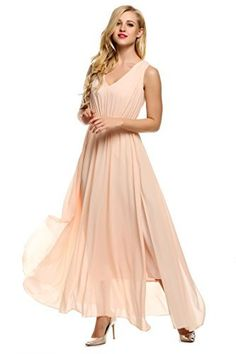 ANGVNS Women Casual V-Neck Sleeveless Solid Chiffon Maxi Slit Dress With  Belt a5a0a38cb69f