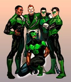 Green Lanterns of Earth :  John Stewart, Guy Gardner, Kyle Rainer, Hal Jordan And Simon Baz