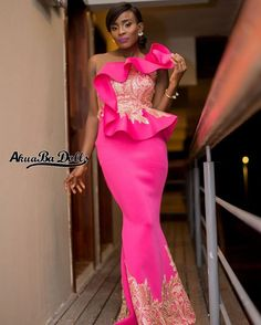Hot Pink Sexy 2019 African Evening Dresses Sheer Neck Lace Mermaid Prom Dresses Cheap Formal Party B African Evening Dresses, African Print Dresses, African Fashion Dresses, African Attire, African Dress, African Outfits, Ghanaian Fashion, African Wear, African Prints