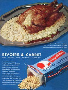 Publicité Rivoire & Carret  - 1962 - coquillettes - pâte alimentaire -