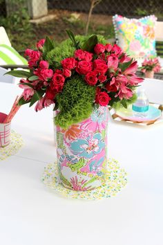 For the Love of Character: Party Crashing: Cassie's Patio Birthday Soiree! Centerpiece - pink flowers with green trick