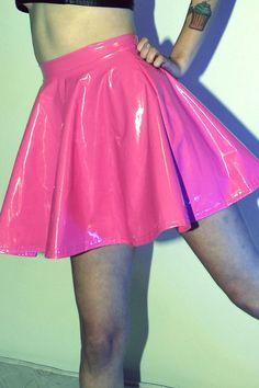DEVOWEVO Bubblicious Hot Pink PVC Skater Dress by DEVOWEVO on Etsy, $65.00