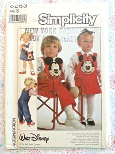 Simplicity 8263 Vintage 1980s Mickey Mouse Childs by Fragolina, $8.00
