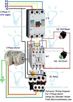 Contactor wiring for 3 phase motor with circuit breaker, overload relay diagram. Basic Electrical Wiring, Electrical Circuit Diagram, Electrical Projects, Electrical Installation, Electronics Projects, Electronic Engineering, Electrical Engineering, Ceiling Fan Wiring, House Wiring