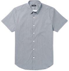 THEORY Zack Printed Stretch-Cotton Poplin Shirt. #theory #cloth #casual shirts