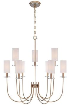 Jonathan Adler Brass Visual Comfort Look Curved Arm White Shade Gold Chandelier #chandelier