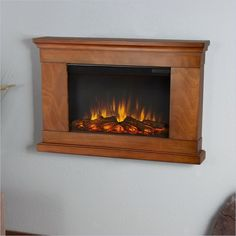 Slim Jackson Electric Wall Fireplace in Pecan