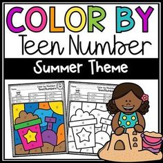 Students will love practicing identifying teen numbers using these summer themed color by number worksheets. There are 8 color by teen number worksheets included, as well as color answer keys. Perfect for:Summer SchoolHome LearningDaycare Math CentersMorning WorkQuick filler on a party daySub pla... Sight Word Flashcards, Sight Word Worksheets, Number Worksheets, 1st Grade Activities, 1st Grade Math, Kindergarten Math, Teen Numbers, Letters And Numbers, Letter Of The Day
