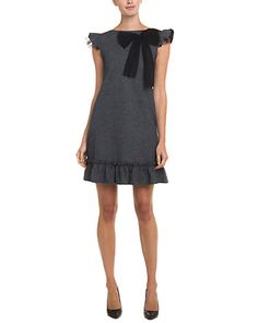 Rue La La — RED Valentino Grey Ruffle Bow Houndstooth Dress