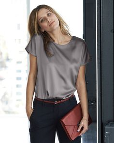 Silk Woven T Shirt   Finest Cashmere Clothing   Pure Collection