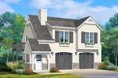 Plan 1 Bed Carriage House Plan With Double Garage Garage Apartment Plans, Garage Apartments, Garage Plans, Carriage House Garage, Garage House, Car Garage, House Plans With Photos, Modern Garage, Country Style House Plans