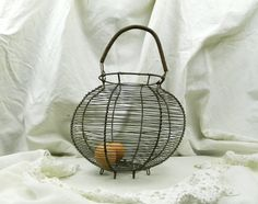 Large Antique French Wire ware Egg Basket / French Country Décor / Cottage Décor