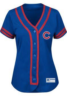 72b46514ed1 Chicago Cubs Womens Majestic Fashion Fashion Baseball Jersey - Blue -  17253628