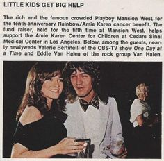 Eddie Van Halen & Valerie Bertinelli attend 10th   anniversary for Rainbow /Amie Karen Cancer benefit for as newlyweds circa 1982