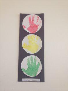 Transportation theme. Hand print stop lights.