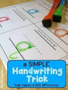 1 Simple Handwriting Trick that Makes a BIG Difference - This Reading Mama Learning To Write, Preschool Learning, Fun Learning, Learning Activities, Preschool Alphabet, Alphabet Crafts, Alphabet Letters, Early Learning, Preschool Journals