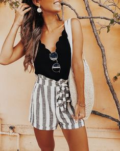 scalloped top with stripes