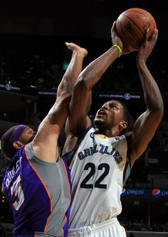 April 11, 2012 - Memphis Grizzlies forward Rudy Gay (22) shoots defended by Phoenix Suns forward Jared Dudley (3) during the game Wednesday evening at the FedExForum. (Nikki Boertman/The Commercial Appeal)