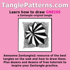 Step-by-step instructions to learn how to draw the Zentangle-original tangle pattern: Gneiss