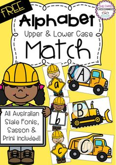 Free: Do your little learners LOVE all things diggers and dump trucks? Then they will love this Upper & Lower Case Letter Match! Perfect to use as a game, addition to sensory bins or even flash cards for recognition or word building. This forever FREEBIE comes in all Australian State Fonts, Sassoon Font and Print Font.