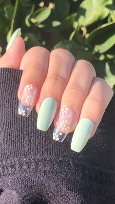 Acrylic Nails Coffin Short, Simple Acrylic Nails, Summer Acrylic Nails, Best Acrylic Nails, Summer Nails, Pastel Nails, Spring Nails, Acrylic Nail Art, Simple Nails