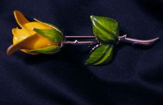 Long Stemmed Yellow Rose Figural Brooch Pin Enamel Green Leaves  Estate Jewelry #Unbranded